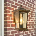 Bronze Lantern Wall Lighting Country Style Clear Glass 1 Head Outdoor Wall Hanging Light