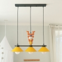 Yellow Wide Flare Island Lighting Cartoon 3 Lights Metallic Drop Pendant Lamp with Monkey Decor