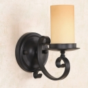 Black Scroll Arm Wall Light Rustic Iron Single Bedside Sconce Lighting with Pillar Frosted Glass Shade