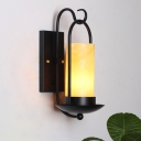 Countryside Cylinder Wall Hanging Light 1 Bulb Frosted Glass Wall Mount Lamp in Black