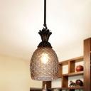 Pineapple Lattice Glass Hanging Pendant Countryside 1 Bulb Kitchen Suspension Lighting in Black