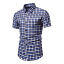 Plaid Printed Short Sleeve Turn down Collar Button down Regular Fit Curved Hem Casual Shirt Top for Men