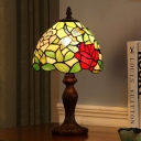 Dome Cut Glass Table Lighting Tiffany Style 1 Light Dark Wood Dragonfly and Bloom Patterned Night Lamp