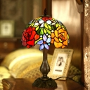 Cut Glass Rose Patterned Table Lighting Victorian 1-Bulb Bronze Night Lamp with Dome Shade