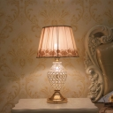Conical Fabric Table Light Vintage 1-Bulb Bedroom Night Lamp in Gold with Urn Crystal Base