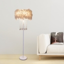 Round Feather Standing Lamp Simple 1 Bulb Living Room Floor Light in White with Crystal Drop