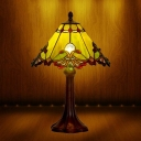 1 Light Conic Nightstand Lighting Mission Style Dark Brown Stained Glass Table Light