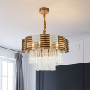 3-Tier Polygon Restaurant Chandelier Mid Century Crystal Tube 9-Bulb Brass Hanging Lamp Kit