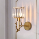 Postmodern Cup Shade Wall Sconce 1-Light Prismatic Crystal Wall Mount Fixture with Antler Detail in Gold