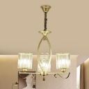 3/6-Head Chandelier Lamp Modern Cylindrical Crystal Prism Pendant Ceiling Light in Gold