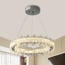 Chrome Hoop Chandelier Minimalistic Crystal Bedroom LED Suspended Lighting Fixture