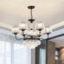 9 Lights Crystal Hanging Pendant Modern Black Conical Bedroom Chandelier Lighting