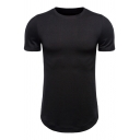 Casual Mens Solid Color Short Sleeve Crew Neck Curved Hem Regular Fitted Tee Top