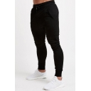 Simple Mens Solid Color Drawstring Waist Ankle Length Slim Fitted Sweatpants