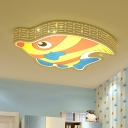 Tropical Fish Acrylic Ceiling Flush Cartoon Yellow LED Flush Mount Lamp with Cutouts Side
