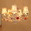 5 Lights Bell Hanging Chandelier Korean Flower White Fabric Suspension Lamp for Living Room
