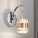 Cylinder Crystal Wall Lighting Ideas Modern Bedroom LED Sconce Lamp in Chrome with Rose Gold Band