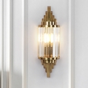 Fluted Crystal Brass Flush Wall Sconce Cylindrical 1-Light Postmodern Wall Lighting Ideas