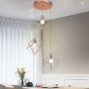 Iron Double Cube Cage Cluster Pendant Postmodern 3-Light Rose Gold Hanging Light Fixture