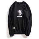 Basic Mens Buddha Figure Pattern Long Sleeve Round Neck Regular Fit Graphic Pullover Sweatshirt