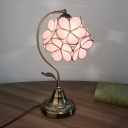 Floral Nightstand Lamp Tiffany Style Pink Glass 1-Light Bronze Night Lighting with Curved Arm