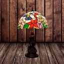 Flower Nightstand Lamp Victorian Stained Glass 1-Bulb Red/Beige Table Lighting with Design