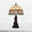 Hand Cut Glass Bowl Nightstand Light Tiffany 1 Light Bronze Finish Flower Patterned Night Lamp