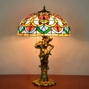 Bronze Bowl Night Table Lamp Victorian 3-Head Cut Glass Pull Chain Desk Light with Beaded Pattern and Woman Base