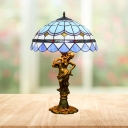 Tiffany Domed Night Table Lighting 3 Heads Stained Glass Woman Desk Lamp in Beige/Blue and White/Blue and Brown with Pull Chain