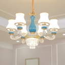 Blue and White 6-Head Chandelier Modern Matte Glass Curved Vase Pendant Light Fixture with Crystal Bottom Bowl