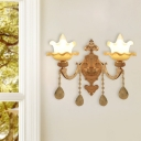 2-Head Frosted Glass Wall Lamp Modern Gold Ruffle-Trimmed Living Room Sconce Light with Crystal Drop