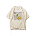 Casual Mens Letter Honey Cherry Graphic Short Sleeve Crew Neck Oversize Tee Top