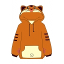 Kawaii Womens Tiger Stripe Footprint Pattern Long Sleeve Drawstring Contrasted Pouch Pocket Relaxed Fit Ears Hoodie in Dark Khaki