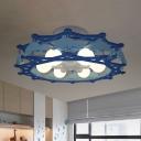 Blue Rudder Cage Ceiling Flush Light Kid 6-Light Iron Semi Mount Lighting with Dolphin Side
