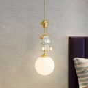 Cow/Tiger Resin Pendant Light Fixture Cartoon 1 Head Gold Suspension Lamp with Ball White Glass Shade