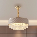 Modern 3-Layer Drum Chandelier 10 Lights Clear Crystal Suspension Lamp with Lattice Pattern Leather Guard