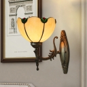 Bronze Single-Bulb Wall Lighting Tiffany Style Beige Glass Scalloped Sconce with Flower Detail
