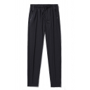 Simple Guys Solid Color Drawstring Waist Ankle Length Relaxed Fit Pants