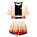Popular Womens Contrasted Flame Button Belt Printed Short Sleeve Crew Neck Relaxed Crop Tee & Elastic Waist Shorts Set in Orange