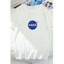 Popular Womens Letter Nasa Printed Short Sleeve Round Neck Loose Fit T Shirt