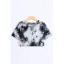 Popular Girls Tie Dye Printed Short Sleeves Cold Shoulder Relaxed Crop T Shirt in Black