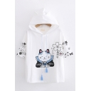 Fashion Cartoon Cat Flower Printed Short Sleeve Hooded Drawstring Relaxed T Shirt for Women