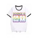Cool Girls Letter Gay Pride Pattern Short Sleeve Crew Neck Loose Ringer T Shirt in White