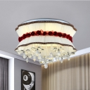 Modernist Blossom Ceiling Mounted Light Fabric LED Bedroom Flush Lamp Fixture in Beige with Floral Crystal Droplet