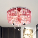 Loving Heart Bedroom Flush Lamp Fixture Sheer Fabric LED Modernist Flush Mount Light in Pink/Gold with Floral Crystal Accent