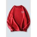 Fashionable Letter Midnight Printed Long Sleeve Crew Neck Oversize Pullover Sweatshirt for Guys