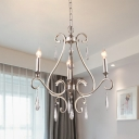 3 Lights Crystal Drop Lamp Rustic Gold Candle Bedroom Chandelier Light Fixture with Scroll Frame