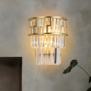 3-Tiered Tapered Crystal Prism Wall Light Mid-Century 2 Lights Living Room Flush Mount Wall Sconce in Gold