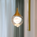 Crystal Ball/Droplet/V Shape Mini Pendant Minimalism Bedside Integrated LED Hanging Ceiling Light in Gold