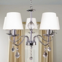 Modernism Curved Arm Pendant Lamp 5 Heads Metallic Candle Chandelier Lighting in Chrome with White Fabric Shade